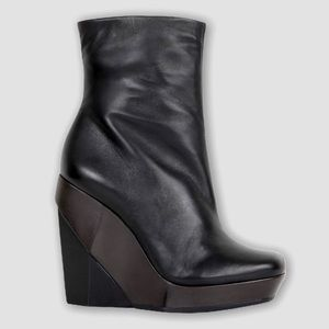 All Saints Wedge Black Brown Ankle Boots